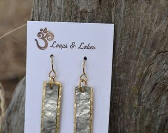 Hammered brass/silver metals on brass ear wires