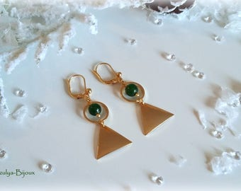 Earrings ethnic Chic - geometric - gold Triangle & circle - natural Jade bead