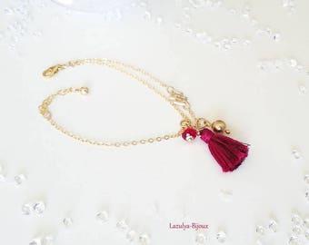 Asymmetrical gold filled bracelet, diamond spacer-Pearl Swarovski Siam - tassel handmade cherry red glittery bead Gold filled