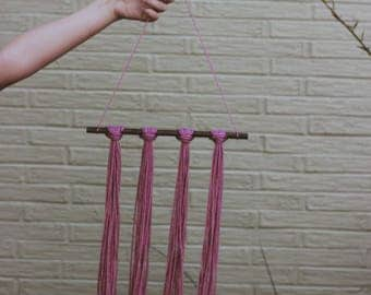 Pink Knotted Yarn Decoration