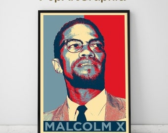 Malcolm x poster design illustrated art print,