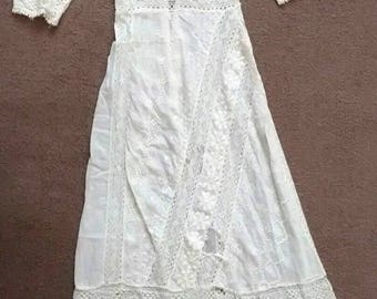 Antique Edwardian White Lace Embroidered Wedding Lawn Tea Dress Early 1900s