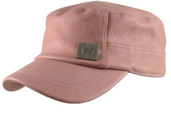 Genuine Pink Rose Leather Low Profile Adjustable Army Cadet Flat Fashion Cap