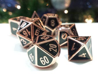 """DnD Metal Dice Set Copper Black """"Elite Dragon's Copper"""" D&D dice Heavy Perfect Precision Gothic RPG Polyhedral Dungeons and Dragons Critical"""