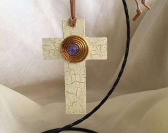 Crackle Finish Wood Cross Embellished with Gold Wire and Purple Bead