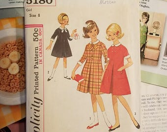 Vintage 60s Simplicity Sewing Pattern # 5180 Girl's Dress, Mad Men Mod, COMPLETE
