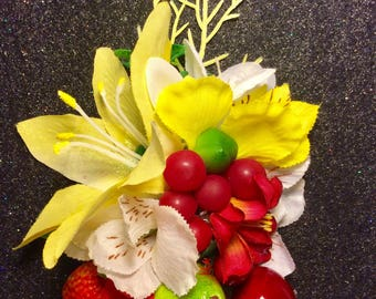 Tropical Fruit and Flowers Pinup Hair Flower Clip Rockabilly