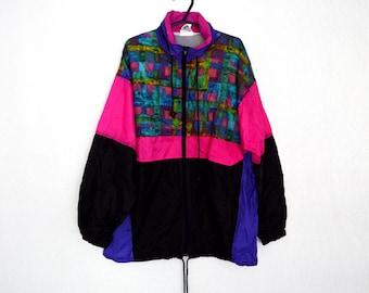 BIG SALE 90s vintage retro windbreaker Oversize Loose fit vintage jacket Size L for men and XL for women