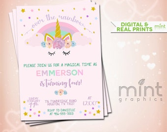 Unicorn Invite, Unicorn Invitation, Magical Unicorn, Unicorn Birthday, Rainbow Unicorn, Unicorn Party Invite, Unicorn Party