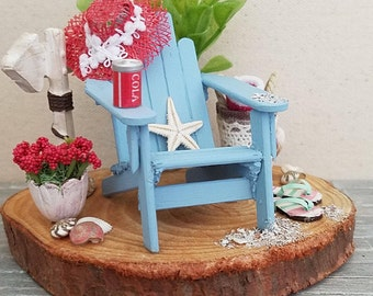Miniature Beach Scene, Miniature Adirondack Chair, Dollhouse Beach Scene, Dollhouse Miniatures, Vacation Scene