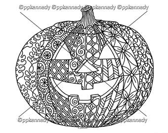 Halloween Jack o' Lantern Zentangle Coloring Page