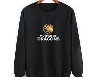 MOTHER OF DRAGONS khaleesi preggers pregnant game of thrones dragon Daenerys Targaryen golden silver sweatshirt jumper girl power