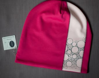 Raspberry pink women's beanie hat Slouchy jersey beanie with cotton lining Autumn/spring hat for women/teen Scull hat for outdoor activity