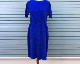 Vintage dress // cobalt blue // terry cloth