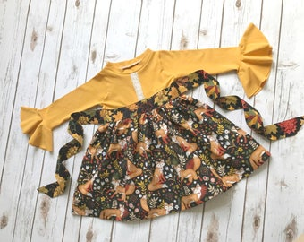 Long bell sleeve mustard fall fox girls ruffle dress with bow
