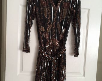 Vintage Marie Coreen gown in black and gold sequins