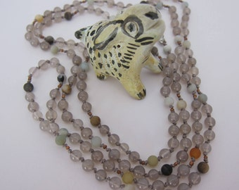 Gray Agate-Amazonite Wrap Necklace - Genuine Gemstones & Pure Silk Thread