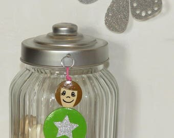 Bag charm, Keychain, great cousin green star glitter, wood beads, beads of smiles message hand painted, personalized