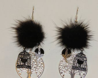"Earrings tree of life, prints, bird and cage birds, tassel ""earrings Poumpoumpidou"" black fur trend 2018"