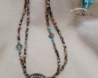 """35"""" Heishi Bead Necklace with Silver-Toned Pendant"""