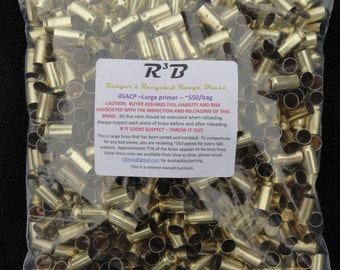 45 ACP - Large Primer Only  Range Brass - Sorted and Tumbled (Polished)