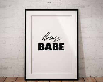 Boss Babe Wall Art, Boss Babe Printable, Funny Printable, Office Decor, Printables for Women, Girl Printable, Office Wall Art, Typography