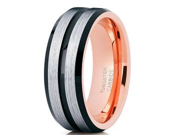 Black Tungsten Wedding Band Rose Gold Tungsten Tungsten Carbide Ring Men & Women Anniversary Band
