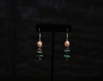 Freshwater Pearl, Turquoise, and Amethyst Earrings
