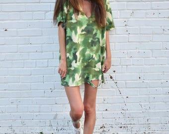 Camo Cut-Out Dress