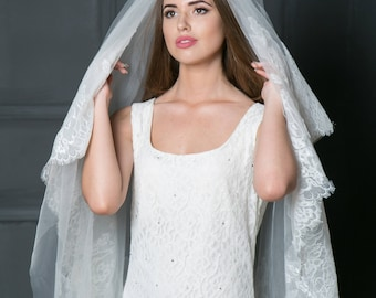 Lace bridal veil, Mantilla lace ivory veil, two tired blusher veil, Ivory fingertip veil, Cathedral veil, Blush veil, White lace veil.