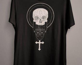 Skull T-Shirt, Wiccan Shirt, Pagan Shirt, Black Metal Shirt, Goth T-Shirt