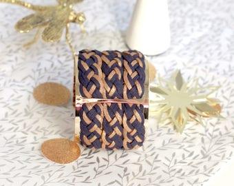 Bracelet cuff Paris Blue Navy/gold