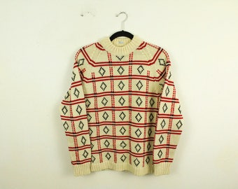 Vintage 1940s Gimbel's 100% Wool Crew Neck Sweater / Made in Italy / Multi-Color / Small / Medium / Leisure / Winter / Comfy / Holiday / 50s