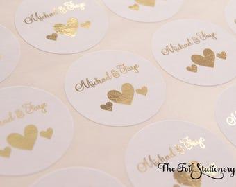 Foil Wedding Stickers, Wedding Stickers, Wedding Favour Stickers, White Wedding Labels, Custom Wedding Stickers, Invitation Stickers, D6
