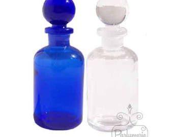2 Bottles 1/2 oz Clear GLASS APOTHECARY Old World Style with Grounded Stopper Top Closure Essential Oil Perfume Potions Alchemy Amulet
