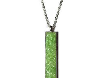 Drop pendant, drop necklace, bar pendant, crystal pendant, boho, under 20 dollars, geode pendant, druzy, rectangle pendant, lime green