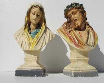 Vintage Chalkware Virgin Mary Bust & Chalkware Jesus Bust,Mid Century Jesus and Mother Mary Pedestal Figurines,1950s Catholic Plaster Statue