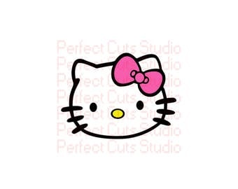 Hello kitty stencil etsy for Hello kitty cut out template