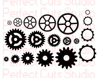 Steampunk Gears SVG and Studio3 File - Steampunk Gear Cutouts - Cricut - Silhouette Studio - Downloads Gears Stencils Cuts Stencil
