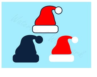Santa Hat SVG and Studio 3 Cut File Logo Designs Decals SVGs for Brother Cricut Silhouette Christmas Xmas Holiday Cutouts Files Downloads