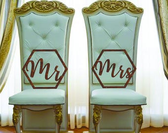 Geometric Wedding Chair Signs Mr and Mrs Hexagon Mr & Mrs Wooden Hanging Signs Set Mr Mrs chair signs Wedding chair signs wedding signs