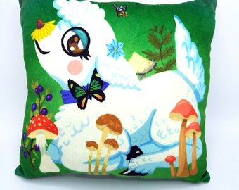 Lamb with Mushrooms Decorative Pillow Soft Minky