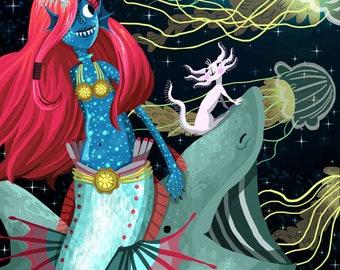 Deep Sea Mermaid Art Print 11x17 inches with Basking Shark, Jellyfish and Axolotl