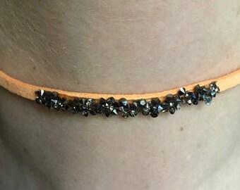 Orange leather choker with hematite druzy crystals