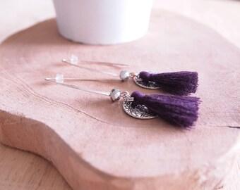 Bohemian, tassel and crystal earrings