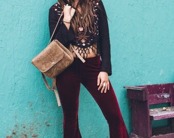 Bohemian Leather Backpack / One of a kind handmade brown backpack with a free spirited design