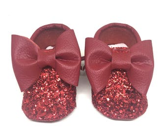 Baby Moccasins Red Shining , Moccasins,Mocc, Baby Moccasins, Red Moccasins, Baby Girl Moccasins, Baby Girl Shoes,