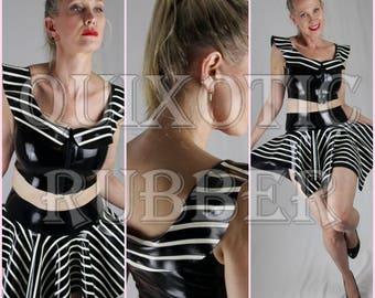 READY TO SHIP Latex Pinstripe Handkerchief Skirt