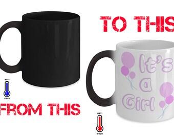 gender reveal mug for girl - heat sensitive colour change - 11oz size