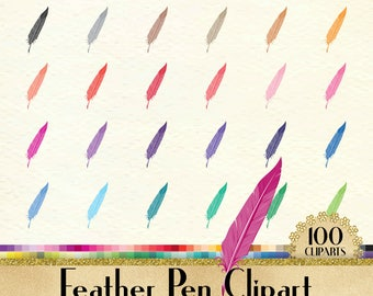 100 Feather Pen Clipart, Vintage Pen Clipart, 100 PNG Clipart, Planner Clipart, Instant Download Clipart, 100 Vintage Clipart,European Decor